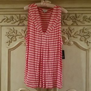 NWT Crown & Ivy coral and white striped top